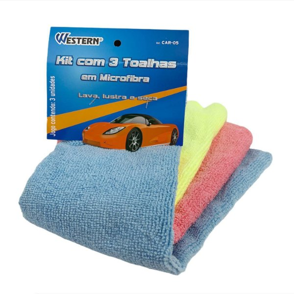 Pano / Toalha Microfibra Lava, Lustra e Seca Carro (Kit 3pçs) - Western