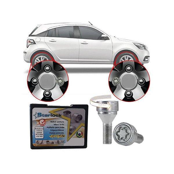 Trava Antifurto Anti Roubo de Roda Parafuso Porca Farad Starlock Chevrolet Agile 2010 à 2014