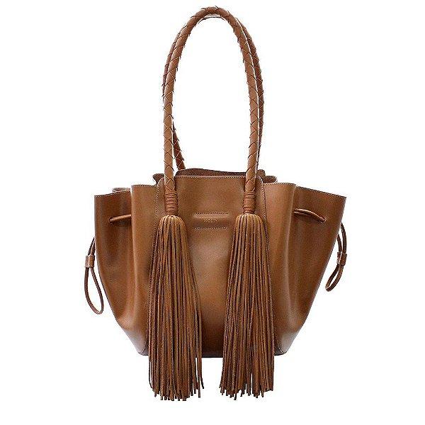 Bolsa Feminina Shopping Franja Couro Caramelo