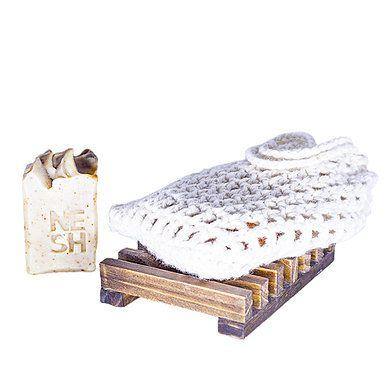kit Porta Sabonete ou shampoo + Bucha Crochê para banho