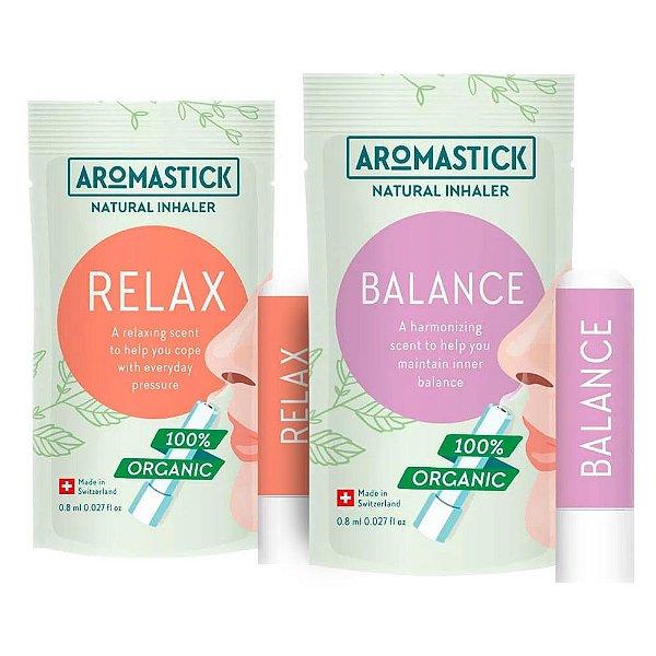 Kit Equilíbrio com 2 Inaladores Orgânicos Balance e Relax - Aromastick