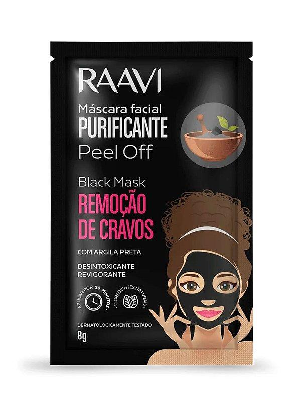 Sachê Máscara Facial Purificante Peel Off com Argila Preta Black Mask 8g - Raavi