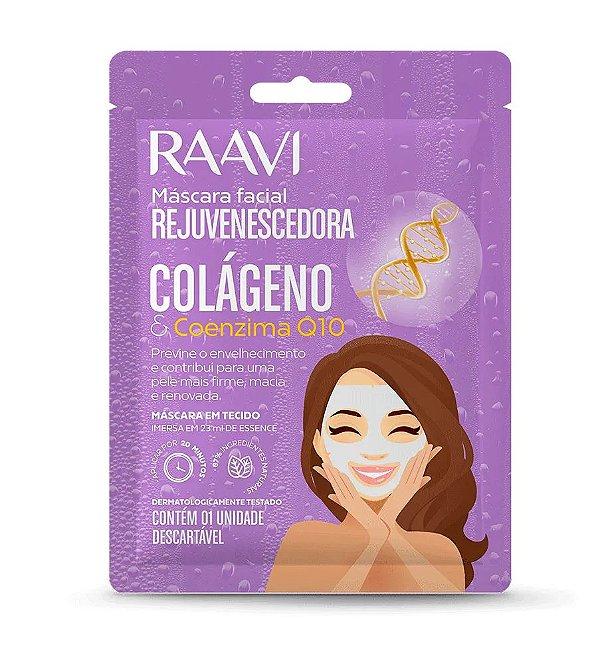 Máscara de Tecido Facial Rejuvenescedora Colágeno e Q10 - Raavi