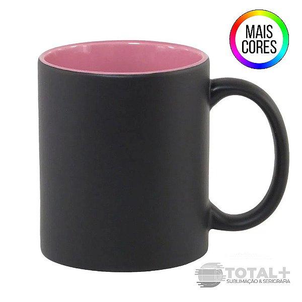 Caneca Magica Semi-Brilho Preta interior Colorido