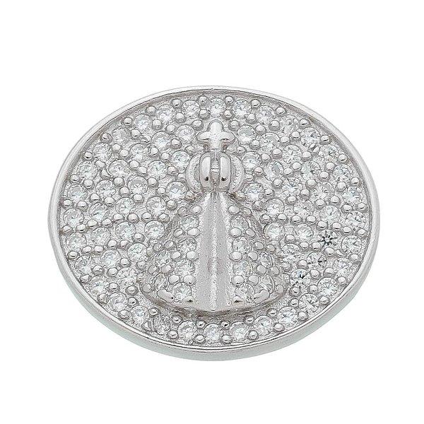 Pingente Nossa Senhora Aparecida Zircônia Prata