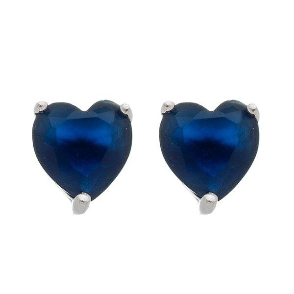 Brinco De Prata Pedra Coração Azul Escuro