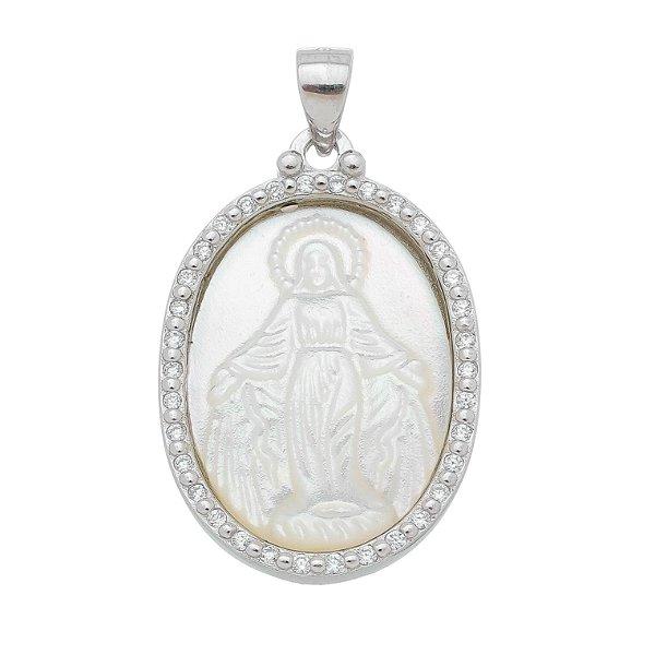 Pingente Nossa Senhora Das Graças Zircônia Prata