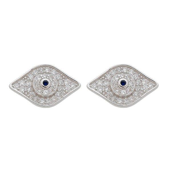 Brinco Pequeno De Prata Olho Grego Com Zircônia