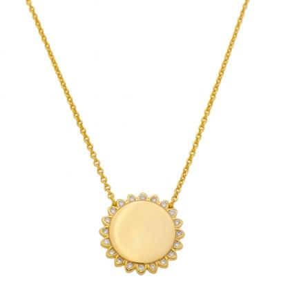 Colar Medalha Redonda Flor Com Zircônias Folheado A Ouro