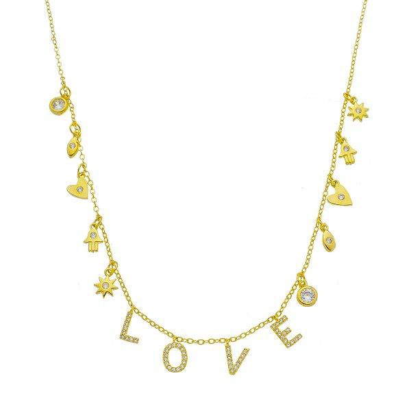 Colar Love Com Zircônia Folhado A Ouro