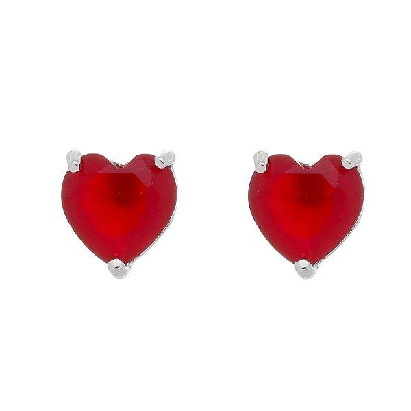 Brinco Coração Vermelho Folheado A Ródio