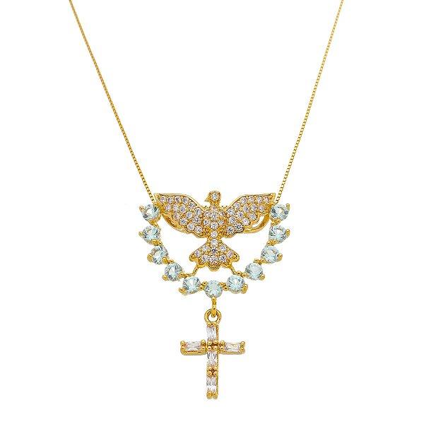 Colar Espírito Santo E Crucifixo Cravejado Em Zircônia Com Meia Lua Azul Folheado A Ouro