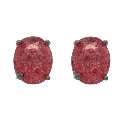 Brinco Semijoia Pedra Ice Fusion Oval Média 10Mm Vermelha Folheado A Ródio Negro