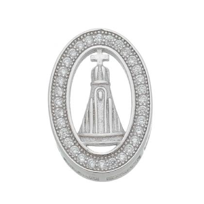 Pingente Oval Nossa Senhora Aparecida Zircônia Prata