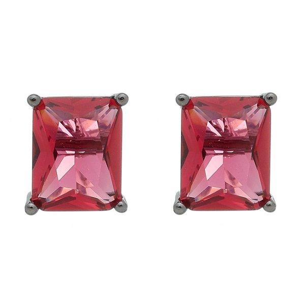 Brinco Semijoia Pedra Retângulo Médio 10Mm Vermelha Folheado A Ródio Negro