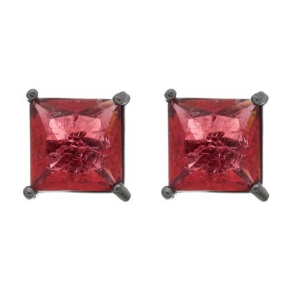 Brinco Semijoia Pedra Ice Fusion Quadrada Média 10Mm Vermelha Folheado A Ródio Negro