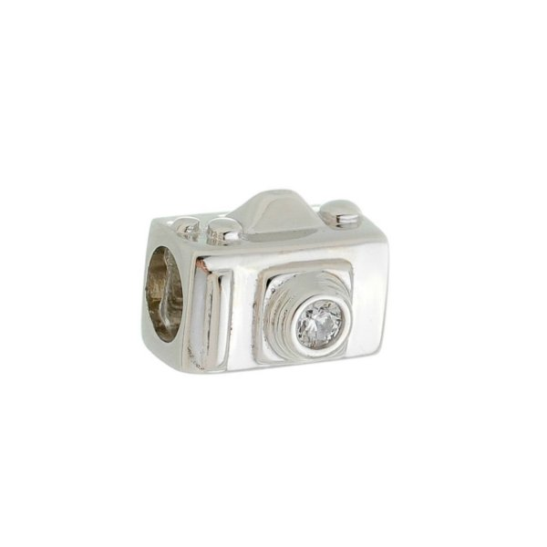 Berloque Infantil Câmera Fotográfica Prata Com Ródio.