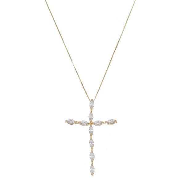 Colar Crucifixo Pedraria Transparente Folheado A Ouro