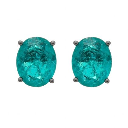 Brinco Semijoia Pedra Ice Fusion Oval Média 10Mm Verde Folheado A Ródio Negro