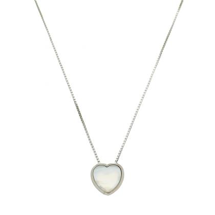 Colar Coração Madrepérola Em Prata