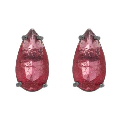 Brinco Semijoia Pedra Ice Fusion Gota Grande 15Mm Vermelha Folheado A Ródio Negro