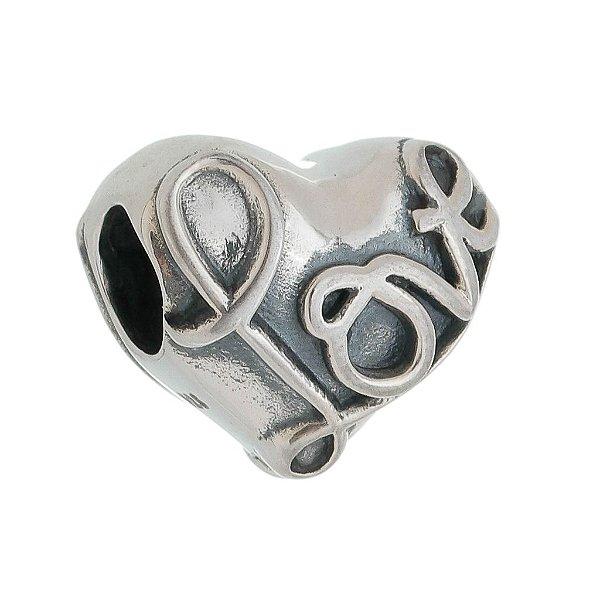 Berloque Coração Love Prata