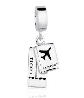 Berloque Passaporte com Ticket de Embarque Prata