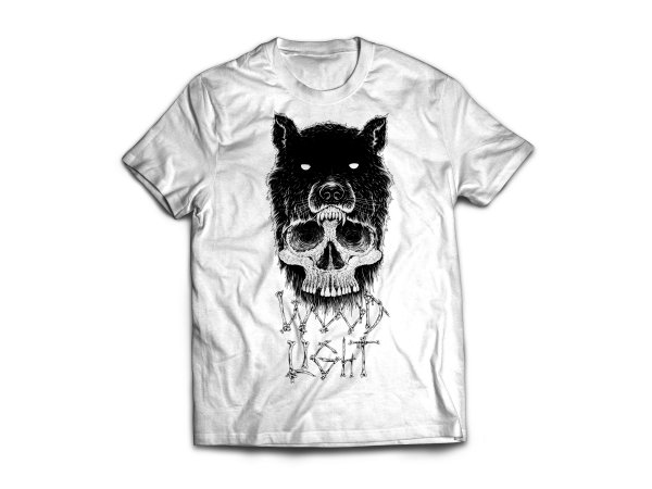Camiseta Wood Light Caveira Lobo Branca