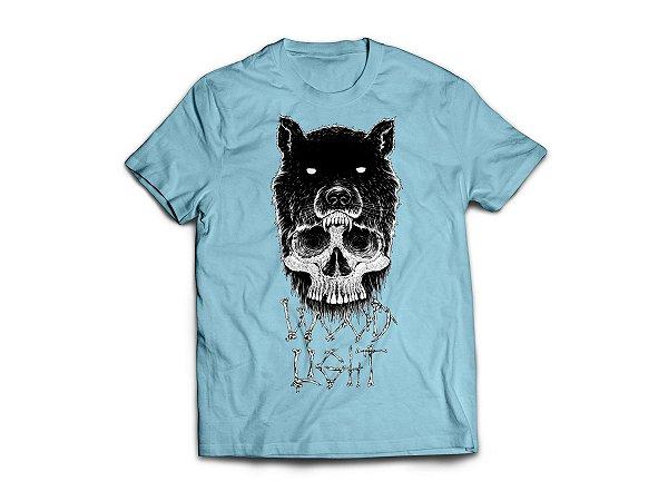 Camiseta Wood Light Caveira Lobo Azul