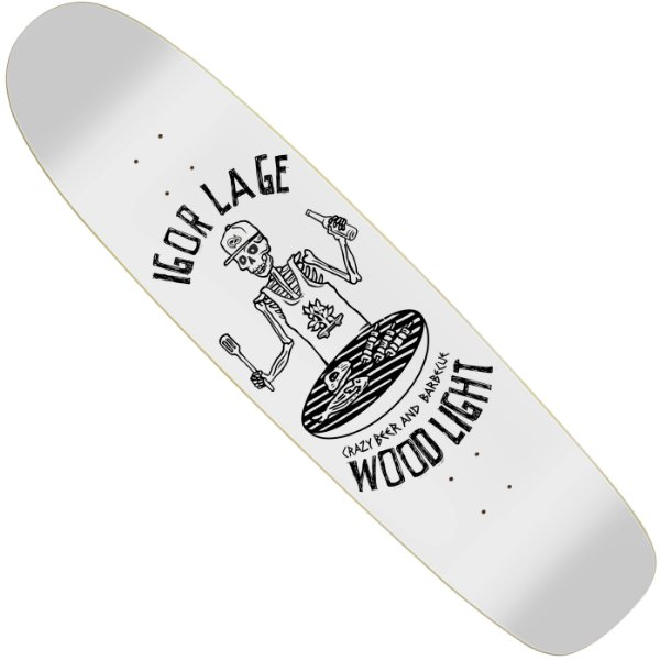 Shape Longboard Wood Light Pro Model Igor Lage Crazy Beer and Barbecue White