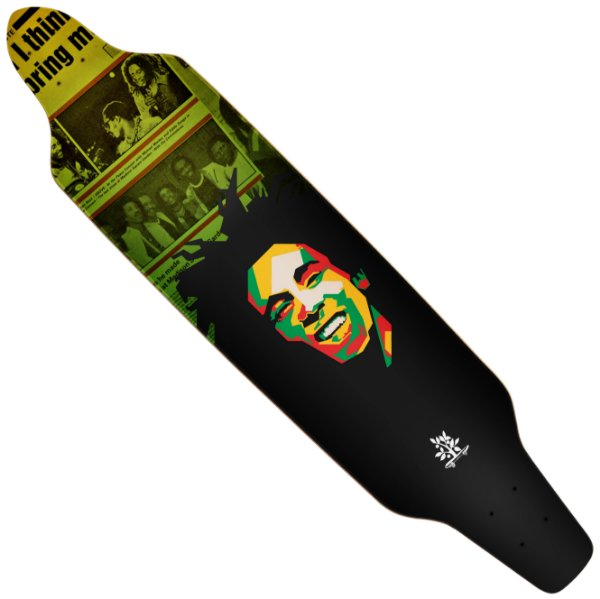 Shape Wood Light Longboard Assimétrico Bob Marley Poly Art Magazine