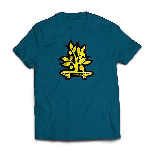 Camiseta Wood Light Logo Azul Petroleo