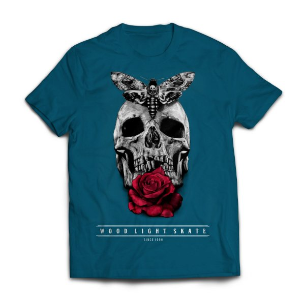 Camiseta Wood Light  Skull Flower Azul Petroleo