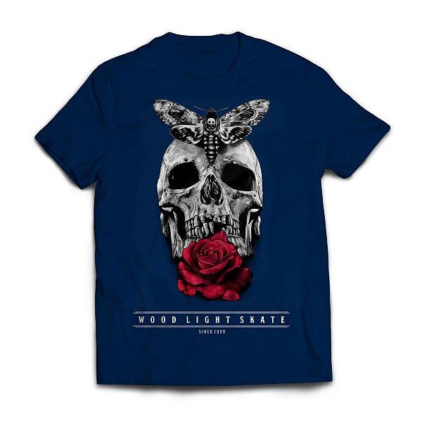 Camiseta Wood Light Skull Flower Azul Marinho