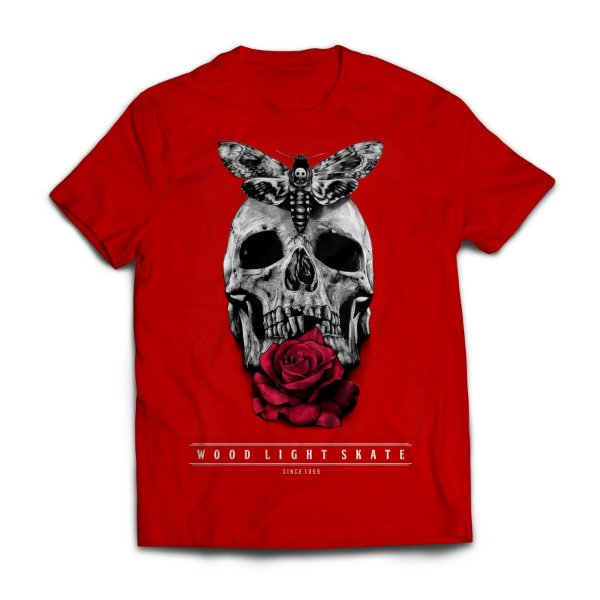 Camiseta Wood Light  Skull Flower Vermelho