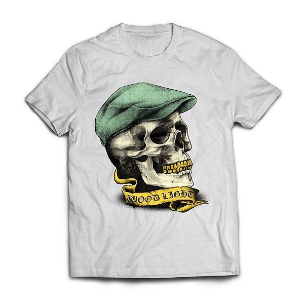 Camiseta Wood Light Skull Hat Branca