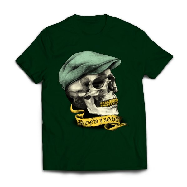 Camiseta Wood Light Skull Hat Verde Musgo