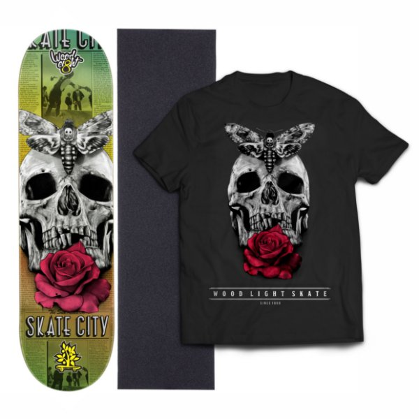 Kit Shape De Skate Wood Light Eight + Lixa + Camiseta - Skull Flower