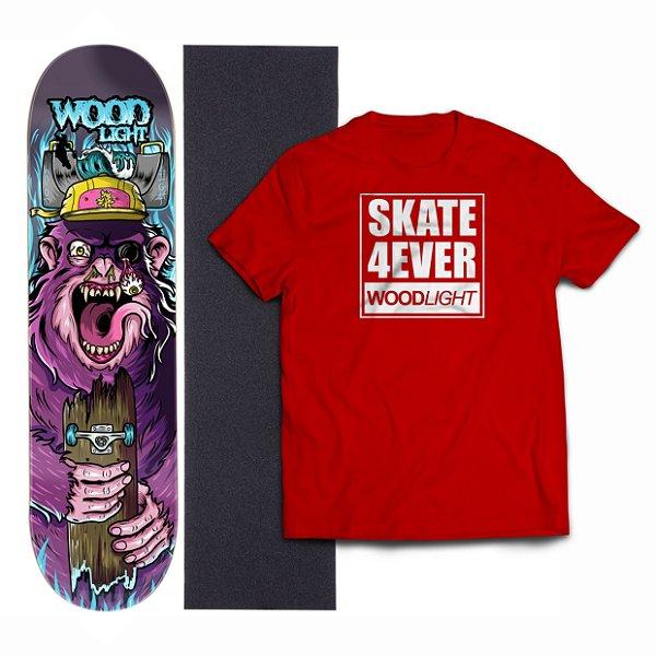 Kit Shape De Skate Wood Light Fiber Glass + Lixa + Camiseta - Monkey
