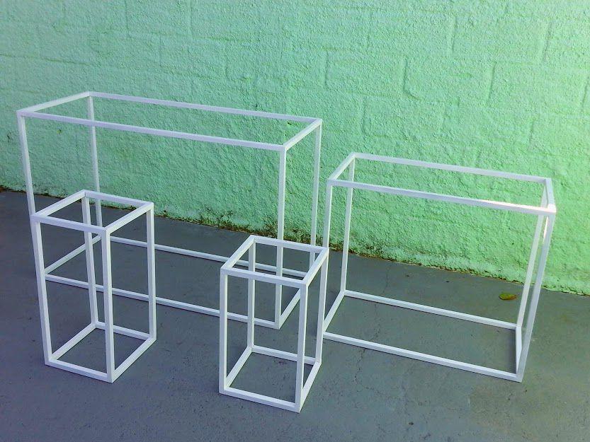 kit  com 4 armação para mesas estruturas em metalon