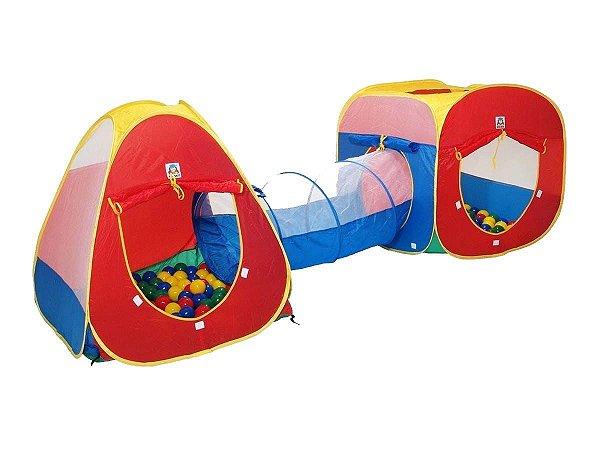 Barraca Infantil Toca 3x1 Tunel E Bolinhas Brinqway C/ Bolsa