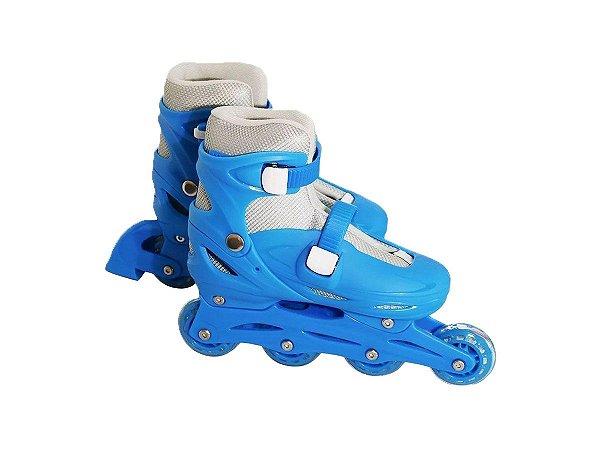 Patins Infantil Inline Masculino Azul Com Ajuste De Tamanho