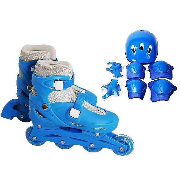 Patins Infantil Menino Inline Ajustável + Kit de Proteção