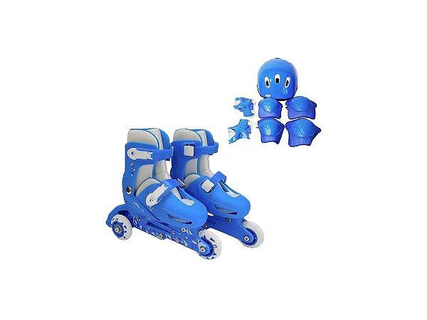Patins Infantil Menino 3 Rodas Ajustável + Kit Proteção
