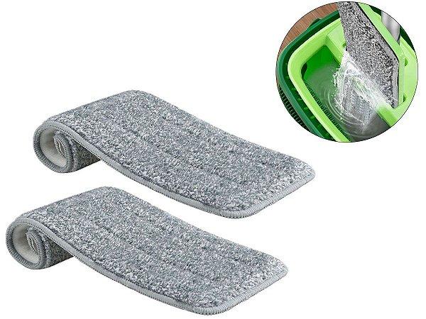Kit 2 Refil Flat Mop Microfibra Esfregão Lavável Troca Fácil