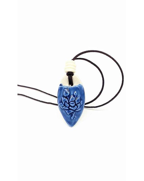 Colar Aromático Flor de Lotus Azul Cerâmica