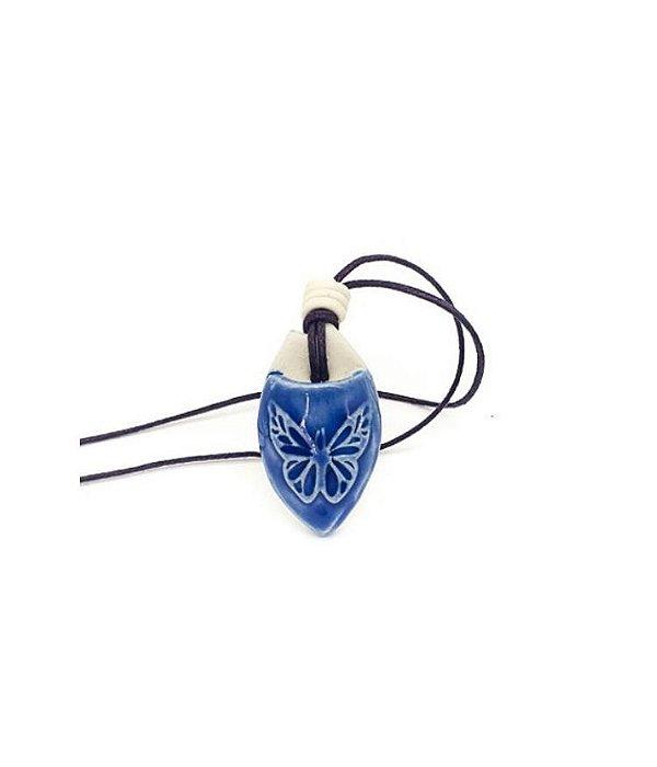 Colar Aromático Borboleta  Azul Cerâmica