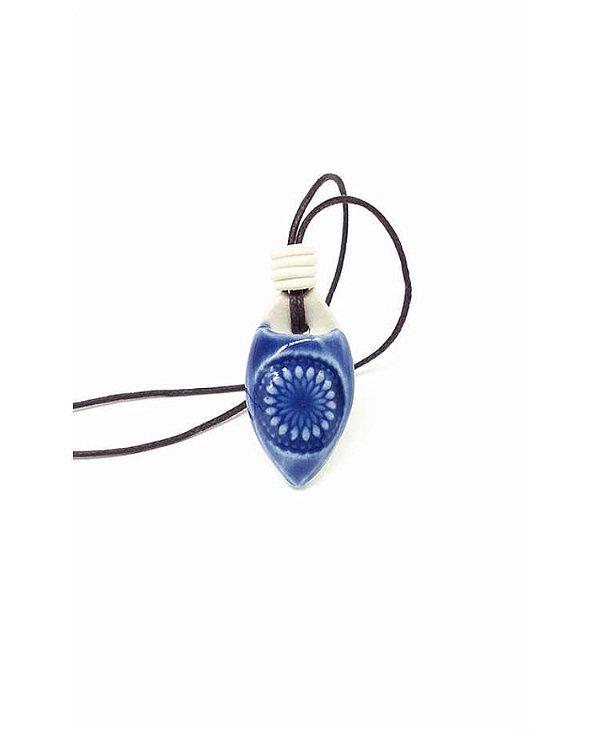 Colar Aromático Mandala Azul Cerâmica