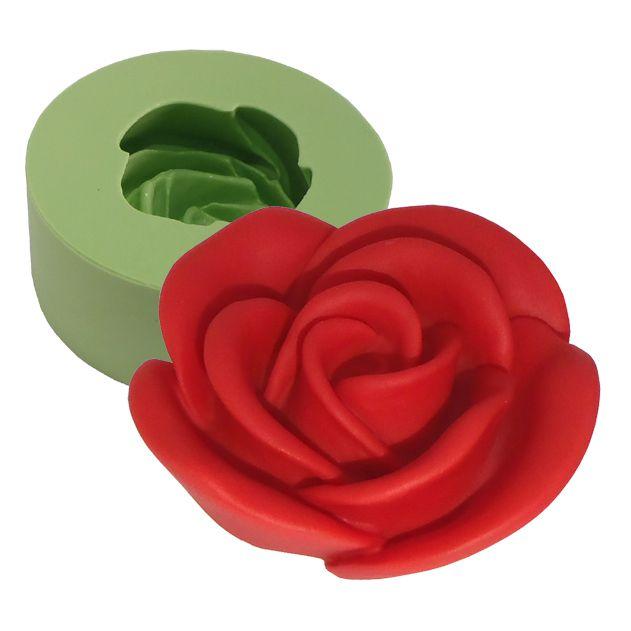 Molde de silicone -Rosa Desabrochando  (1 cav.)