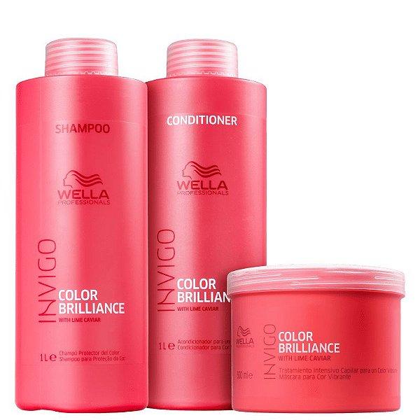 Wella Professionals Brilliance Kit 3 produtos (Shampoo+ Condicionador+ Máscara)